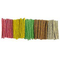 Pałeczki do gryzienia z wołowej skóry dla psa, kolorowe - 100 szt.