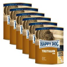 Happy Dog Pur - Truthahn/indyk, 6 x 800g, 5+1 GRATIS