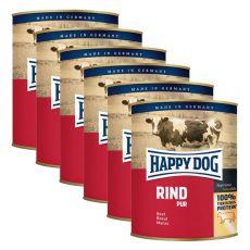 Happy Dog Pur - Rind/wołowina, 6 x 800g, 5+1 GRATIS