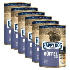 Happy Dog Pur - Büffel/mięso bawole, 6 x 400g, 5+1 GRATIS