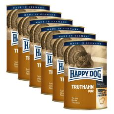 Happy Dog Pur - Truthahn/indyk, 6 x 400g, 5+1 GRATIS