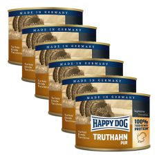 Happy Dog Pur - Truthahn/indyk, 6 x 200g, 5+1 GRATIS