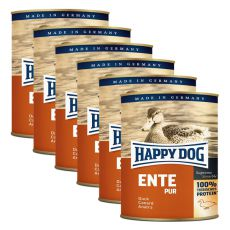 Happy Dog Pur - Ente/kaczka, 6 x 800g, 5+1 GRATIS