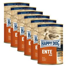 Happy Dog Pur - Ente/kaczka, 6 x 400g, 5+1 GRATIS