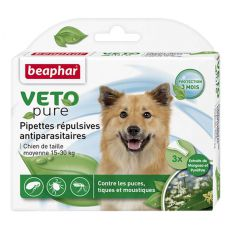 Krople przeciwko pasożytom, dla psów średnich ras, naturalne - 3 szt.