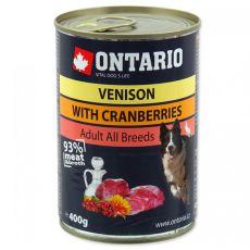 Konserwa ONTARIO dla psów, dziczyzna, żurawina i olej - 400g