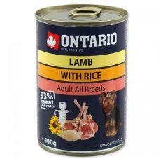 Konserwa ONTARIO dla psów, jagnięcina, ryż i olej - 400g