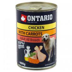 Konserwa ONTARIO dla psów, kurczak, marchewka i olej - 400g