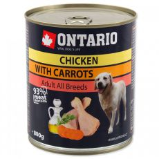 Konserwa ONTARIO dla psów, kurczak, marchewka i olej - 800g