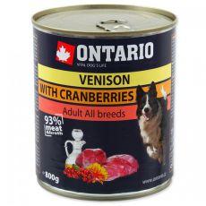 Konserwa ONTARIO dla psów, dziczyzna, żurawina i olej - 800g