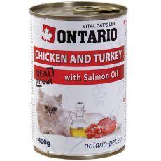 Konserwa ONTARIO dla kotów – kurczak, indyk, olej - 400 g