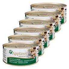 Applaws Cat – konserwa dla kotów z tuńczykiem i wodorostem morskim, 6 x 70g