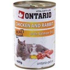 Konserwa ONTARIO dla kotów – kurczak, królik, olej - 400 g