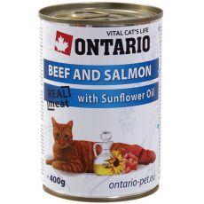 Konserwa ONTARIO dla kotów – wołowina, łosoś, olej  - 400 g