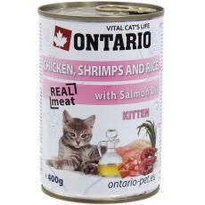 Konserwa ONTARIO dla kotów – kurczak, rak, ryż, olej - 400 g