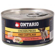 Konserwa ONTARIO Junior dla psów, kawałki mięsa z kurczaka + chrząstki, 200g