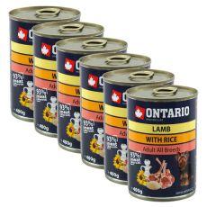 Konserwa ONTARIO dla psów, jagnięcina, ryż i olej - 6x400g