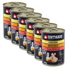 Konserwa ONTARIO Puppy dla psów, kurczak, ryż i olej - 6x400g