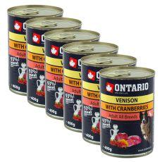 Konserwa ONTARIO dla psów, dziczyzna, żurawina i olej - 6x400g