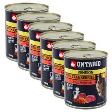 Konserwa ONTARIO dla psów, dziczyzna, żurawina i olej - 6x800g