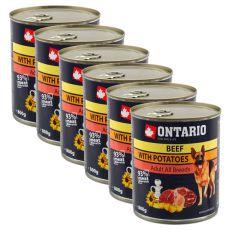 Konserwa ONTARIO dla psów, wołowina, ziemniaki i olej - 6 x 800g