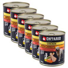 Konserwa ONTARIO dla psów, kurczak, marchewka i olej - 6x800g