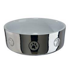 Ceramiczna miska dla psów, srebrna - 0,8 l