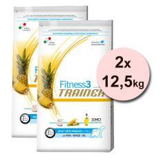 Trainer Fitnes3 Adult MEDIUM & MAXI - ryba z kukurydzą 2 x 12,5kg