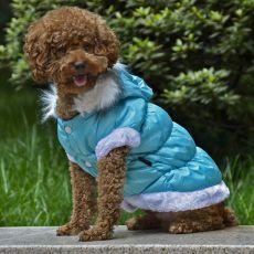 Kurtka dla psa z odpinanym kapturem - niebieska, S