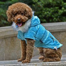 Kurtka dla psa z imitacją kieszeni - niebieska, S