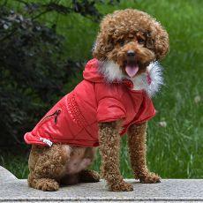 Kurtka dla psa z imitacją kieszeni na suwak - czerwona, S