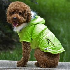 Kurtka dla psa z imitacją kieszeni na suwak – neonowo zielona, S