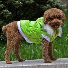 Kurtka dla psa z odpinanym kapturem - zielona,  M