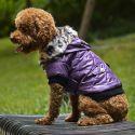 Kurtka dla psa z futerkiem na kapturze - fioletowa, XL