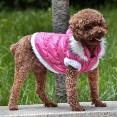 Kurtka dla psa z odpinanym kapturem - różowa, M