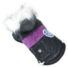 Kurtka dla psa z futerkiem – czarna, XL