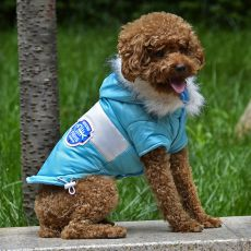 Kurtka dla psa z naszywką – niebieska, S