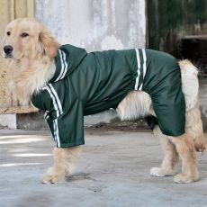 Płaszcz przeciwdeszczowy dla psów dużych ras z odblaskowymi elementami, ciemno zielony, 3XL
