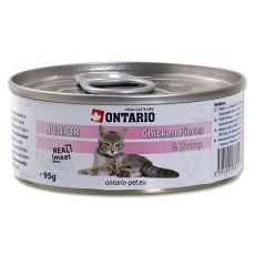 Konserwa ONTARIO Junior – z kawałkami kurczaka i z krewetkami - 95 g