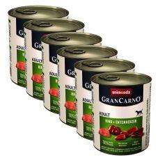 Konserwa GranCarno Original Adult z wołowiną + kacze serca- 6 x 800 g
