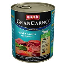 Konserwa GranCarno Original Adult wołowina i łosoś+szpinak - 800g