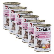 Konserwa ONTARIO dla kotów – kurczak, rak, ryż, olej - 6 x 400g
