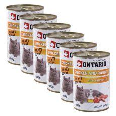 Konserwa ONTARIO dla kotów – kurczak, królik, olej - 6 x 400g