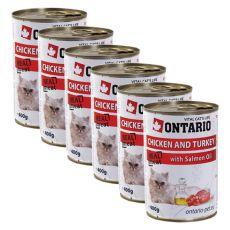 Konserwa ONTARIO dla kotów – kurczak, indyk, olej - 6 x 400g