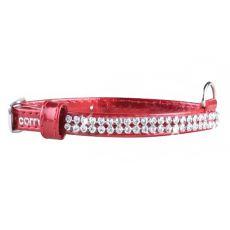 Błyszcząca, skórzana obroża z kryształkami - 18 - 21cm, 9mm - czerwona