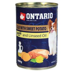 Konserwa ONTARIO z cielęciną, słodkimi ziemniakami i olejem lnianym – 400g