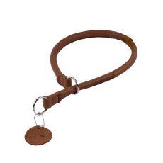 Okrągła, skórzana smycz zaciskowa dla psa - 40cmm, 8mm - brązowa