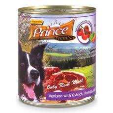 Konserwa Premium PRINCE - z dziczyzną i mięsem ze strusia z pomidorami i marchewką 800g
