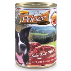 Konserwa PRINCE Premium – wołowina z papają, marchewką i szpinakiem 400g