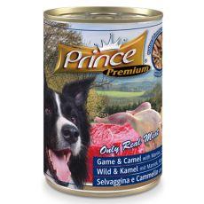 Konserwa Premium PRINCE – z mięsem z dziczyzny, wielbłąda, z maniokiem i groszkiem 400g